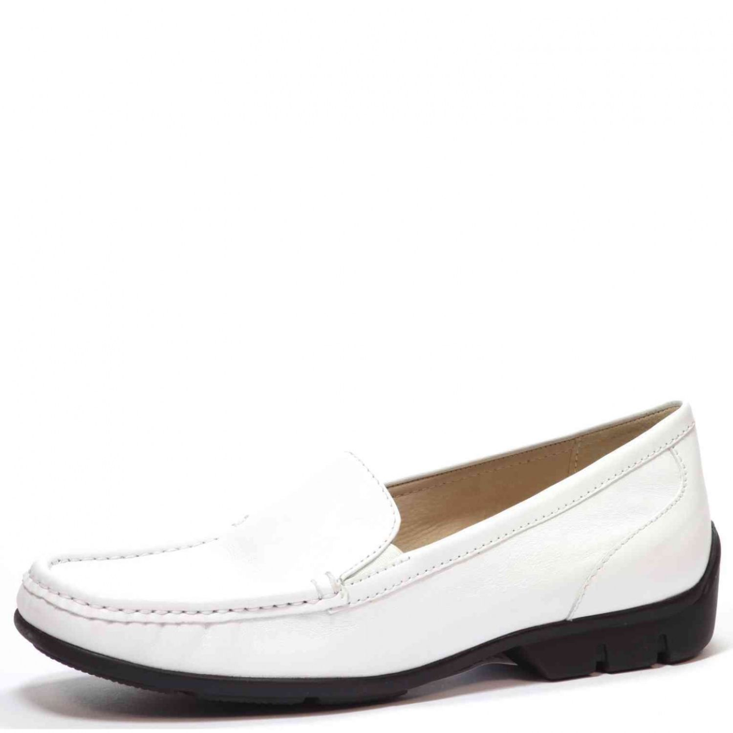New Womens Caprice White 23654 Leather Trainers Flats Lace Up