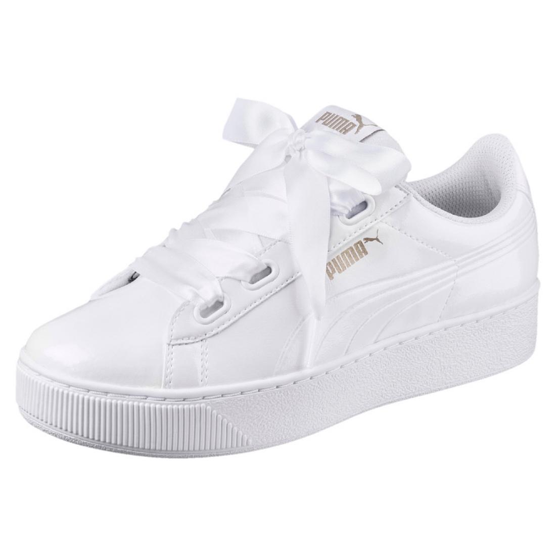 ac4fe3e850fa47 Details about Puma Vikky Platform Ribbon P Ladies Sneaker Shoes 366419  White Lacquer
