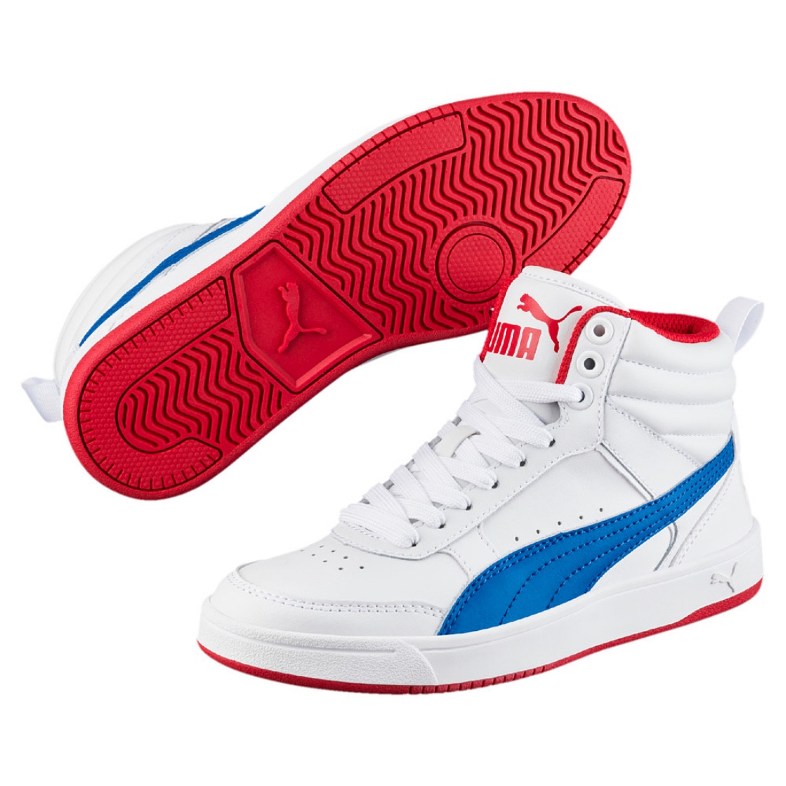 Details about Puma Rebound Street v2 L Jr mid Shoes Trainers 363913 White Blue Red Sale