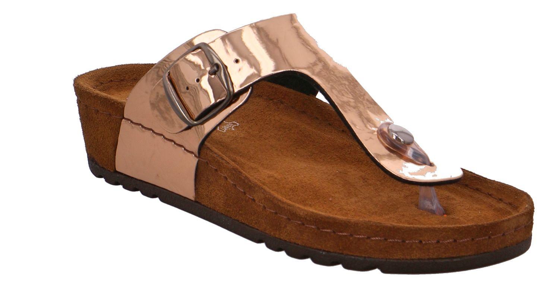 Details zu Rohde Riesa 5832 Damen Sandale Sandalette Zehentrenner 39 Kupfer Crackle