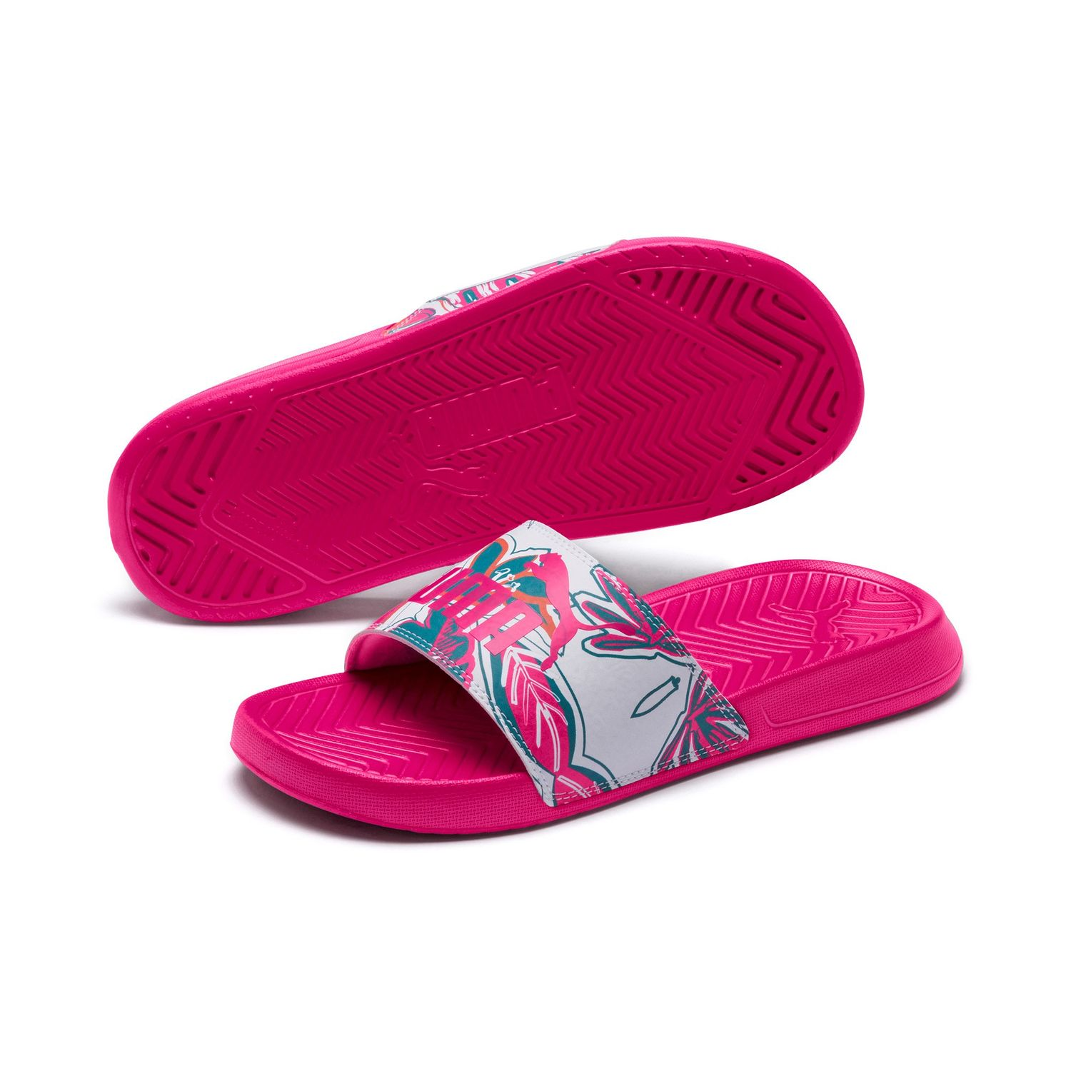 Details about Puma Ladies Slippers Beach Sandals Popcat Flower Power Wns 369423 Fuchsia Purple