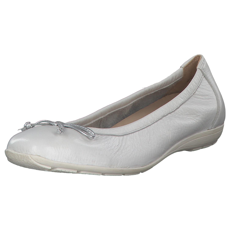 pretty nice 010b5 5e5ff Details zu CAPRICE Damen 9-24661-22 Ballerina Hirschleder Halbschuhe  Slipper White Deer