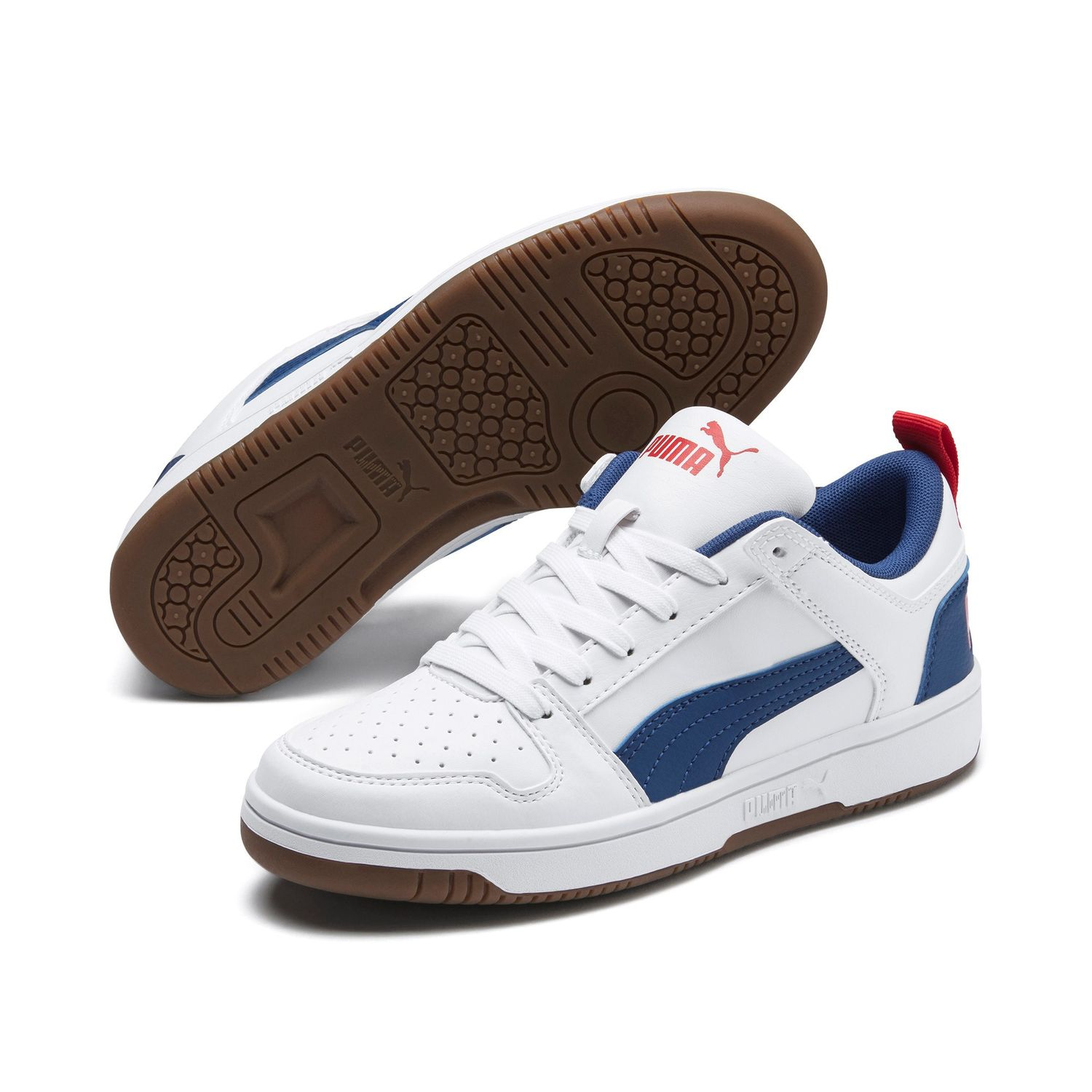 Details about Puma Rebound Layup Lo Sl Jr Shoes Trainers 370490 White Blue Red