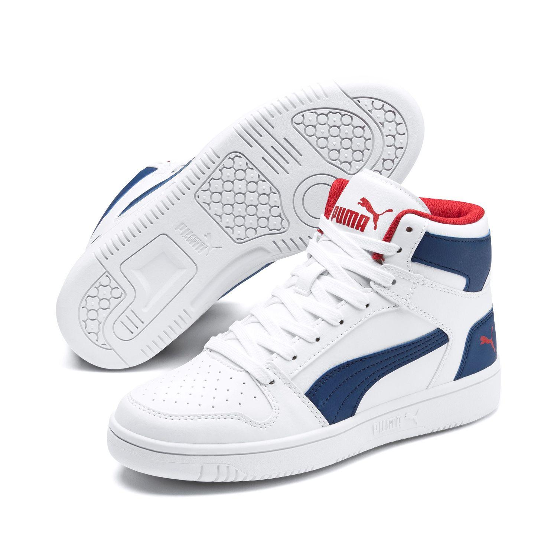 Details zu Puma Rebound Layup Mid Cut SL JR Schuhe Sneaker 370486 White Blue Red