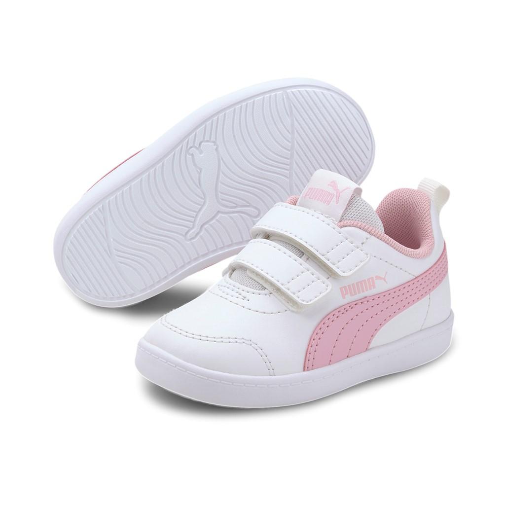 Details about Puma Children Courtflex v2 V Inf Trainers 371544 White Pink
