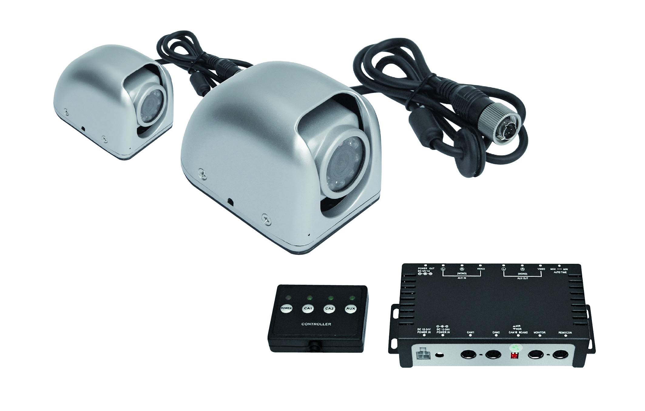 CARGUARD side cameras, 2 pieces for 12V to 24V, 10m cable, 4 times splitter box