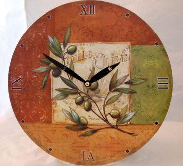 Wanduhr Motiv Olive mediterran günstig Uhr Küchenuhr Küche Esszimmer Wohnzimmer – Bild 1