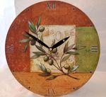 Wanduhr Motiv Olive mediterran günstig Uhr Küchenuhr Küche Esszimmer Wohnzimmer