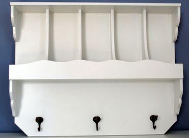 Wandregal mit Fächern und Haken im Landhausstil Garderobe günstig neu weiß – Bild 1