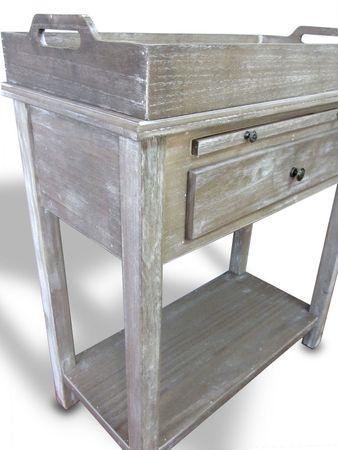 Tablett-Beistell-Tisch mit Schublade Ablage Kommode Konsolentisch Landhaus braun – Bild 3