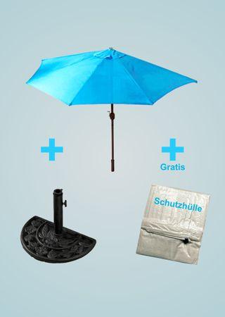 Sonnenschirm-Set türkis halbrund inklusive Schirmständer Kurbel günstig hellblau – Bild 1