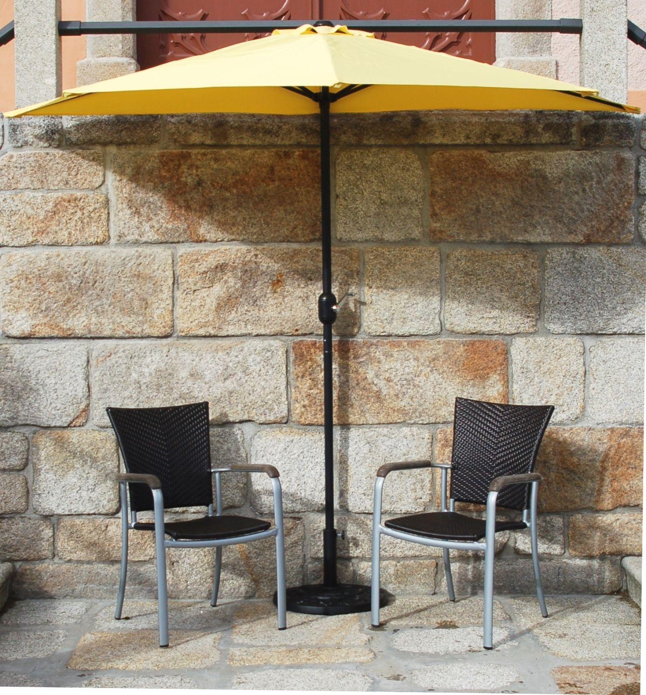 Balkon Sonnenschirm Halbrund | Sonnenschirm Set Gelb Halbrund Inklusive Schirmstander Kurbel