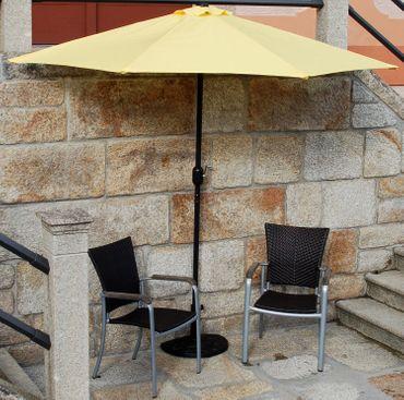 Sonnenschirm-Set gelb halbrund inklusive Schirmständer Kurbel günstig OVP – Bild 3