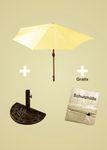 Sonnenschirm-Set gelb halbrund inklusive Schirmständer Kurbel günstig OVP