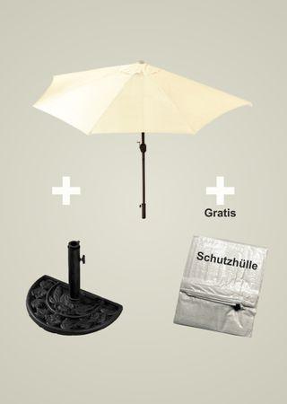 Sonnenschirm-Set beige halbrund inklusive Schirmständer Kurbel günstig OVP