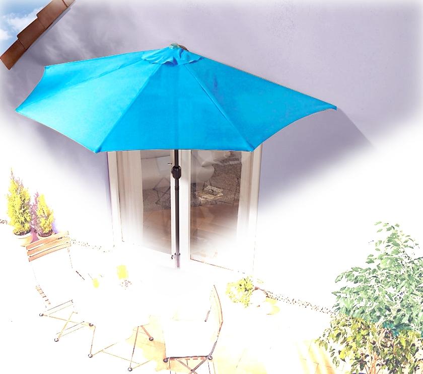 Sonnenschirm türkis halbrund Kurbel Sonnenschutz Garten Balkon Terrasse blau OVP