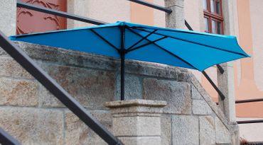 IMC Sonnenschirm türkis halbrund Kurbel Sonnenschutz Garten Balkon Terrasse blau – Bild 3