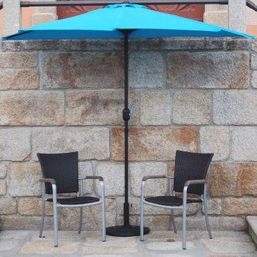 IMC Sonnenschirm türkis halbrund Kurbel Sonnenschutz Garten Balkon Terrasse blau – Bild 4
