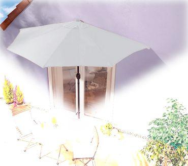 IMC Sonnenschirm grau halbrund Kurbel Sonnenschutz Garten Balkon Terrasse OVP – Bild 1