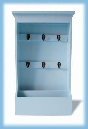 Schlüsselkasten hell-blau Brett Regal Schlüsselablage Holz Landhausstil maritim – Bild 1