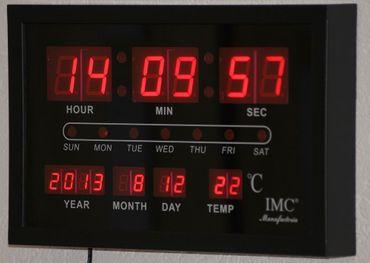 LED - Wanduhr rot mit Datum & Temperaturanzeige günstig modern Led-Uhr Uhr OVP – Bild 1