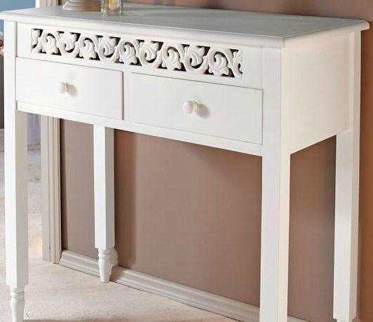 imc manufactoria kommode ornamente landhaus 2 schubf cher beistelltisch g nstig wei antik tisch. Black Bedroom Furniture Sets. Home Design Ideas
