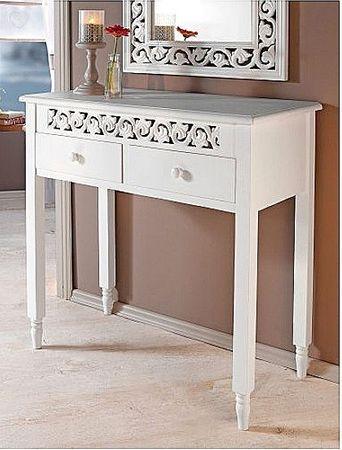 Kommode Ornamente Landhaus 2 Schubfächer Beistelltisch günstig weiß antik Tisch – Bild 1