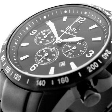 IMC® Herren-Armband-Uhr Chronograph Edelstahl schwarz Datumanzeige Stoppfunktion