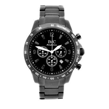 IMC Herren-Armband-Uhr Chronograph Edelstahl schwarz Datumanzeige Stoppfunktion – Bild 2