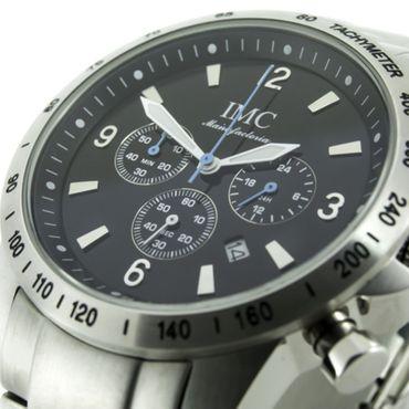 IMC® Herren-Armband-Uhr Chronograph Edelstahl Datumanzeige Stoppfunktion watch