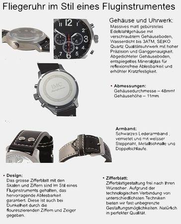 IMC® Fliegeruhr Starfighter Chronograph Armbanduhr Flugzeug Herren Männer Uhr – Bild 6