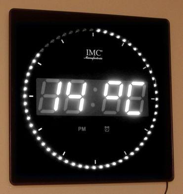 LED - Wanduhr mit Zahlen weiß quadratisch digital Uhr Datum Temperatur Alarm S – Bild 3