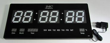 LED - Wanduhr mit Zahlen blau rechteckig digital Uhr Datum Temperatur Multi S – Bild 3