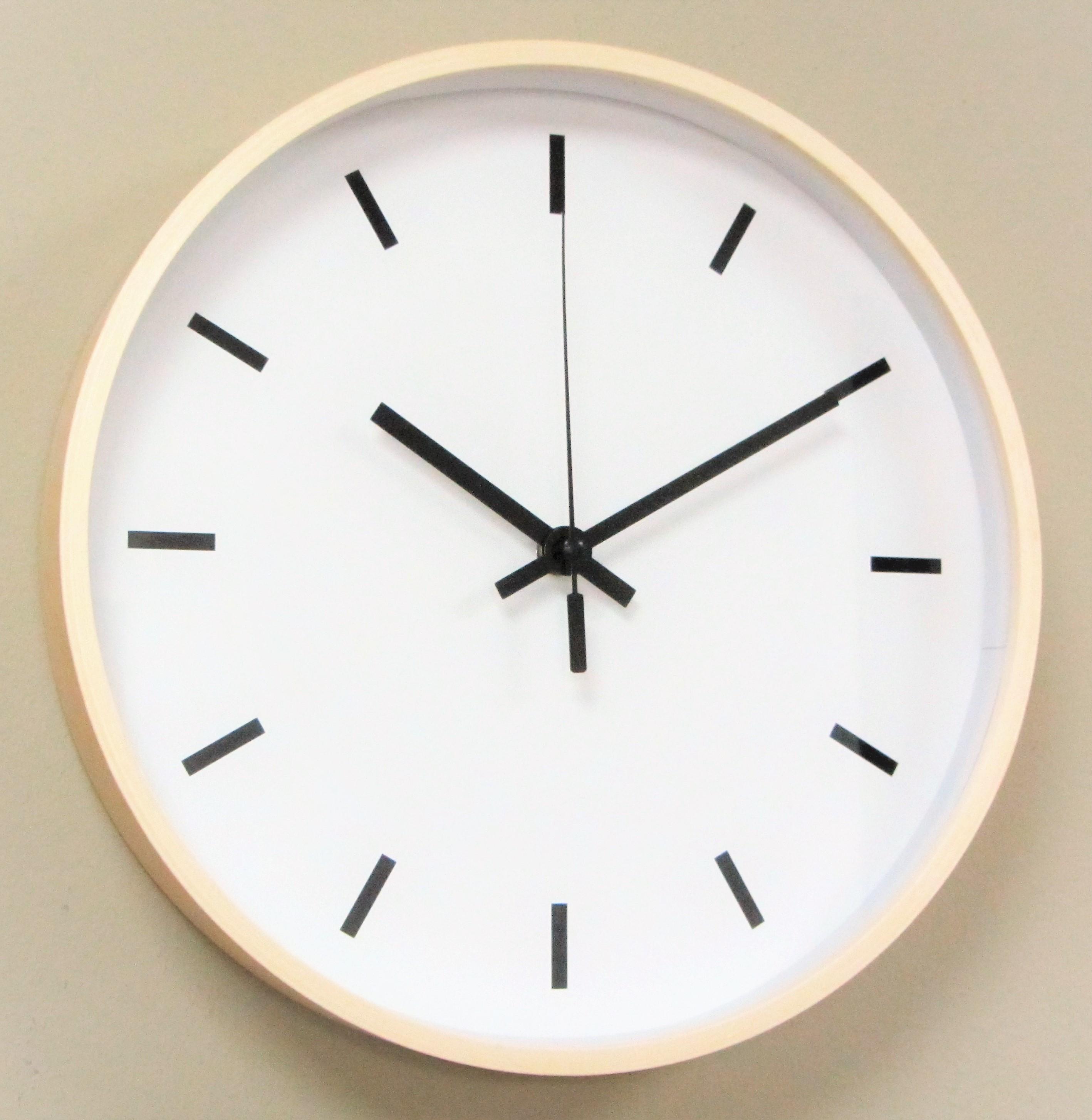 IMC Wanduhr Holz Uhr Büro Küche Wohnzimmer modern großes Ziffernblatt weiß  gut lesbar Quartz XL | IMC Manufactoria