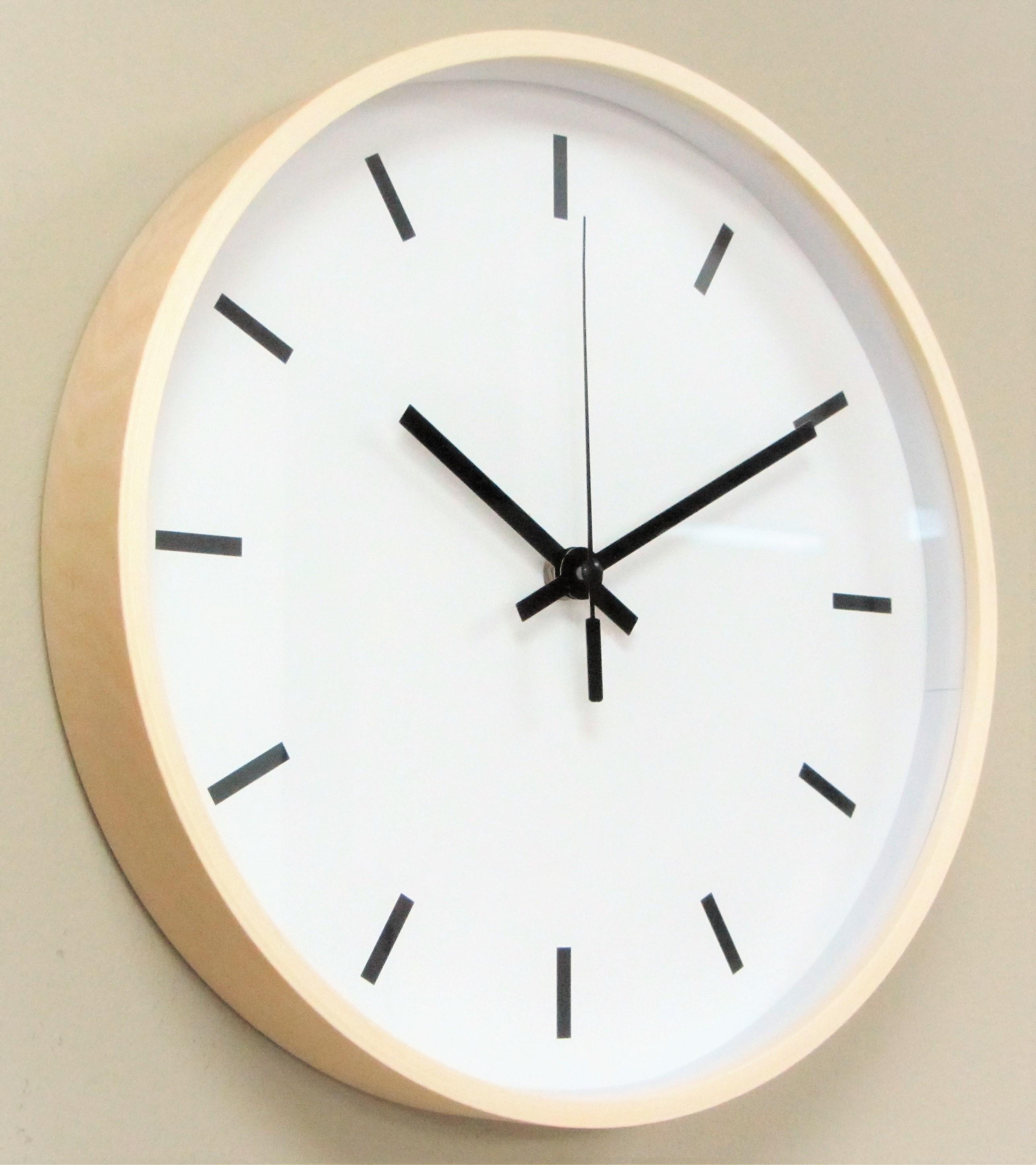 IMC Wanduhr Holz Uhr Büro Küche Wohnzimmer modern großes Ziffernblatt weiß  gut lesbar Quartz XL