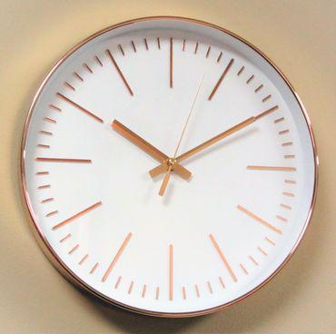 Wanduhr Uhr XL groß gold rosé modern Büro Geschenk gut lesbar günstig weiß OVP – Bild 1