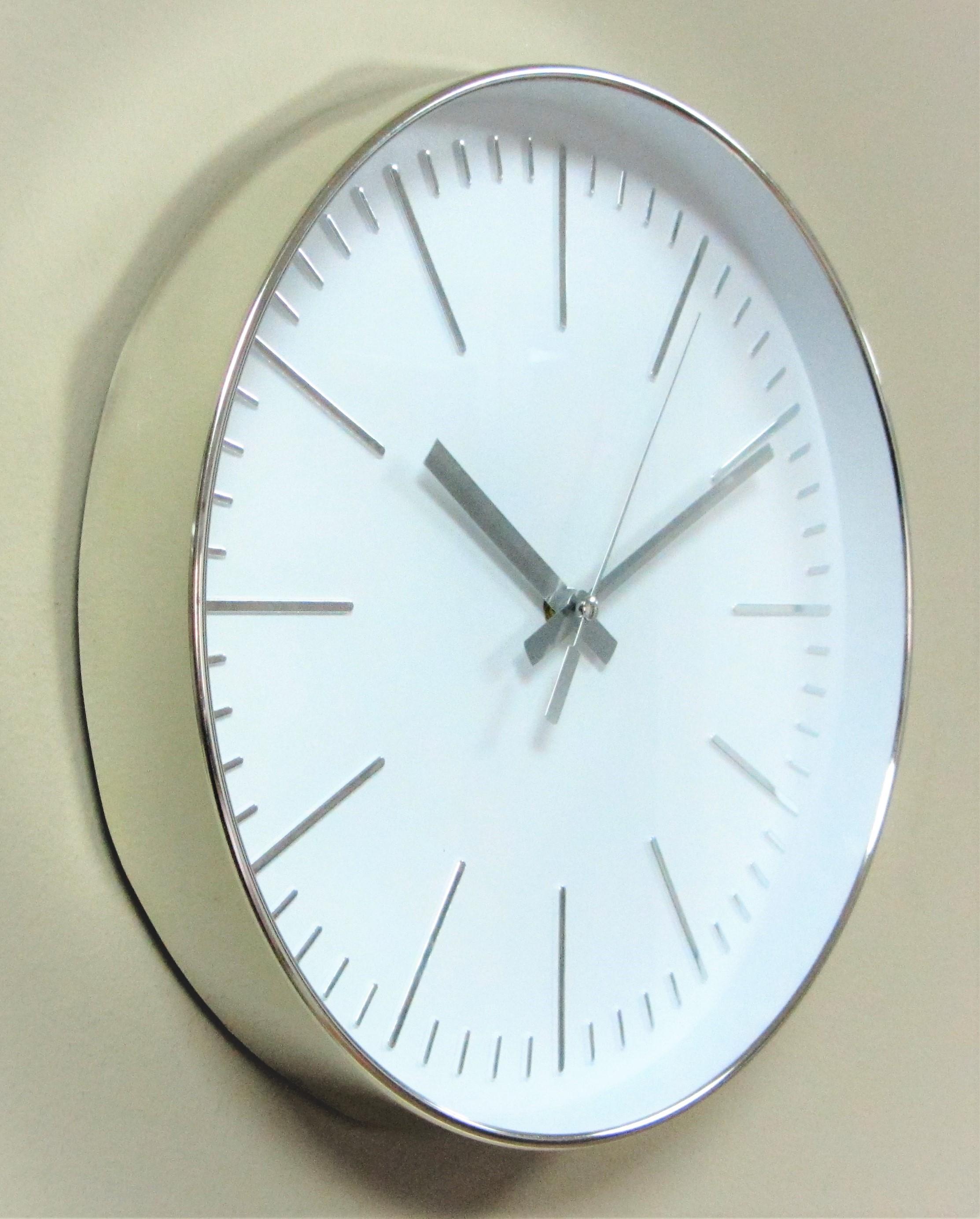 IMC Wanduhr Metall-Look Uhr Büro Küche Wohnzimmer modern großes  Ziffernblatt weiß gut lesbar Quartz XL