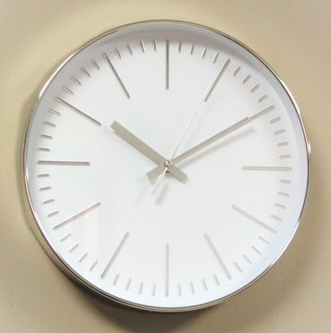 Wanduhr Uhr XL groß Metall-Look modern Büro Geschenk gut lesbar günstig weiß OVP – Bild 1