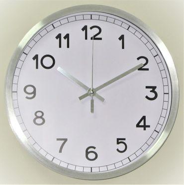 Wanduhr Uhr XL groß Metall modern Büro Geschenk gut lesbar günstig weiß – Bild 1