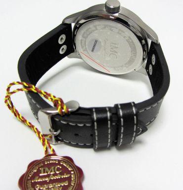 IMC® Fliegeruhr Phantom silber Herren Armbanduhr Kampfflugzeug Männer Uhr Leder – Bild 3