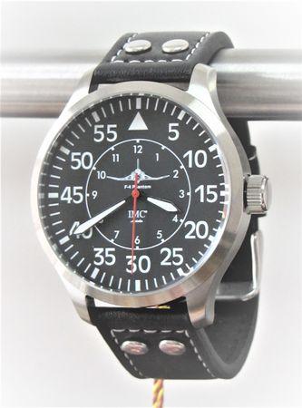 IMC® Fliegeruhr Phantom silber Herren Armbanduhr Kampfflugzeug Männer Uhr Leder – Bild 1