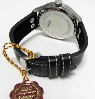 IMC® Fliegeruhr Tornado silber Herren Armbanduhr Kampfflugzeug Männer Uhr Leder – Bild 3