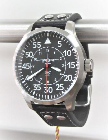IMC® Fliegeruhr Tornado silber Herren Armbanduhr Kampfflugzeug Männer Uhr Leder – Bild 1