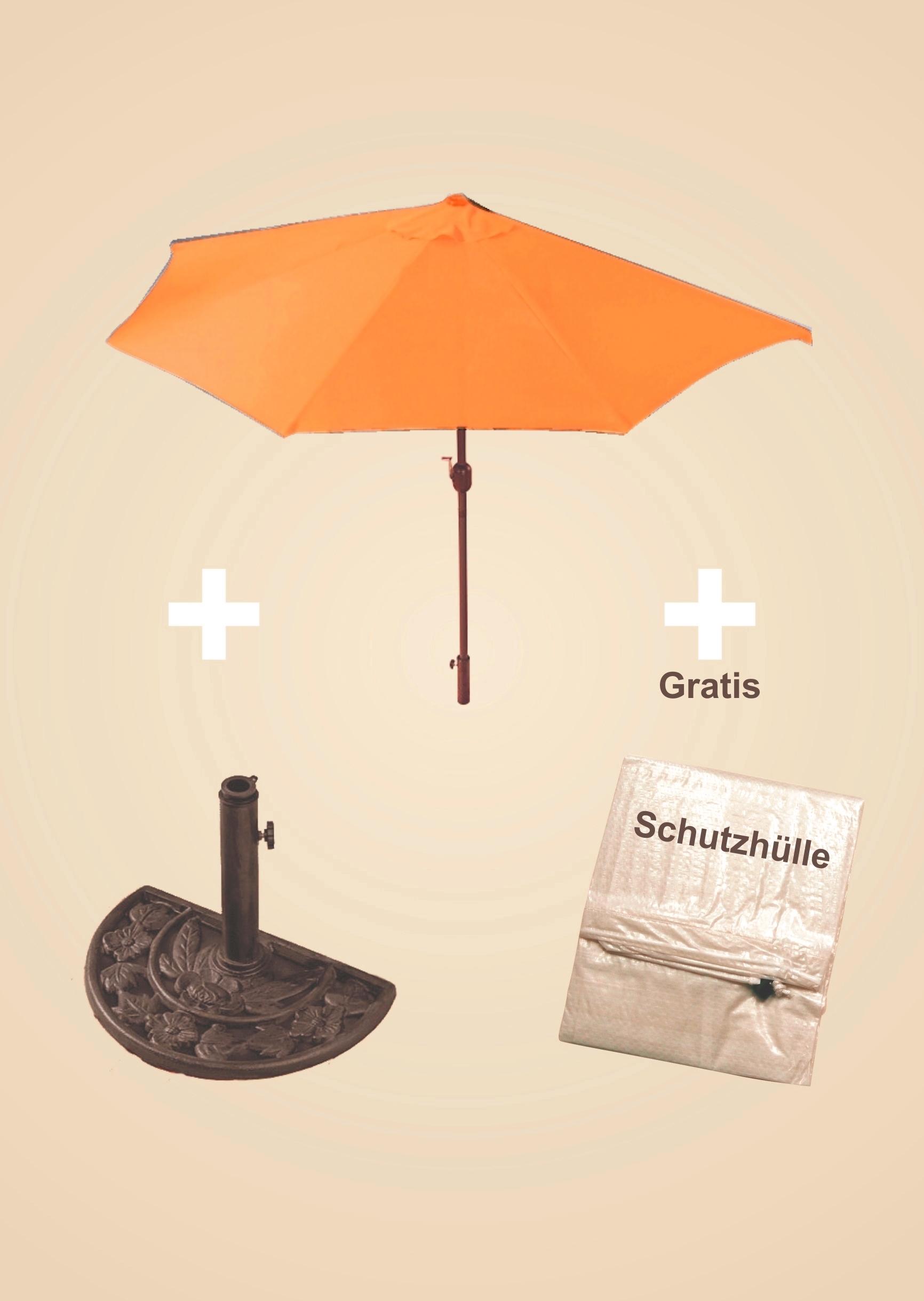 IMC Sonnenschirm-Set beige halbrund inklusive Schirmständer Kurbel günstig OVP