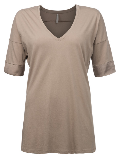 V-Neck Tee with satin cuff 091260