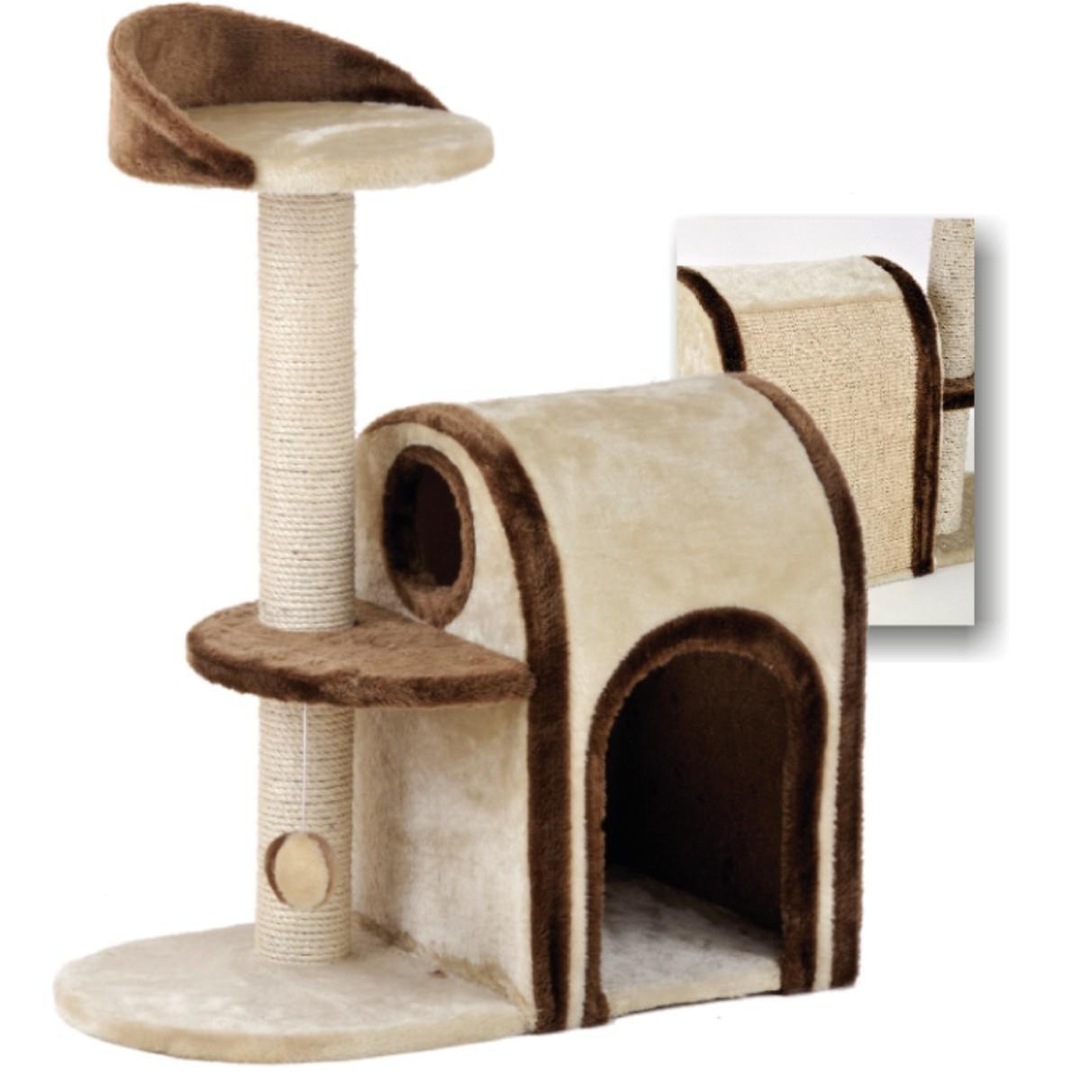 katzenbaum winnie 65x37x81cm beige braun sisal pl sch kratzbaum kletterbaum. Black Bedroom Furniture Sets. Home Design Ideas