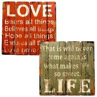 Wandbild Holz Dekoschild Holzschild Holzbild Schild Wanddeko Wandschild Love
