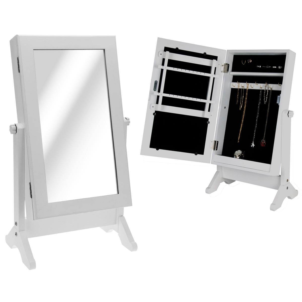 Schmuckvitrine Schmuckschrank weiss 60x35x22cm Holz Standspiegel ...