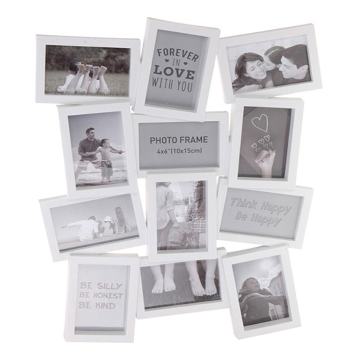 bilderrahmen 62x48cm f r 12 fotos aus kunststoff fotorahmen collage. Black Bedroom Furniture Sets. Home Design Ideas
