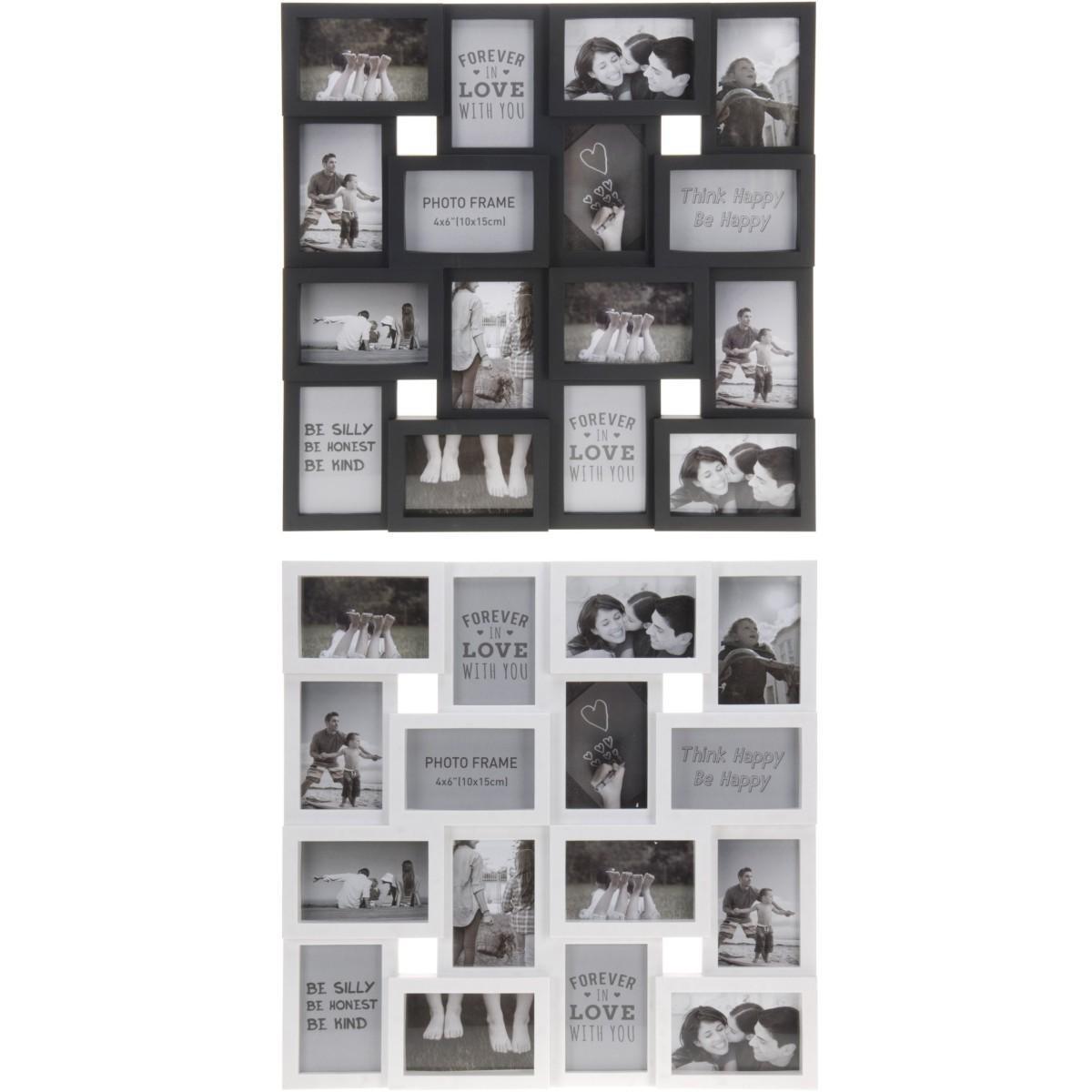 fotorahmen bilderrahmen 56 5x56 5cm 16fotos kunststoff multirahmen fotogalerie. Black Bedroom Furniture Sets. Home Design Ideas
